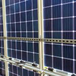 The bifacial solar panel in working state